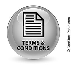 Terms and conditions (page icon) glassy white round button