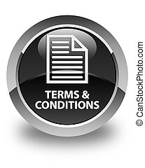 Terms and conditions (page icon) glossy black round button