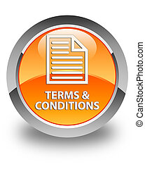 Terms and conditions (page icon) glossy orange round button