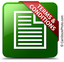 Terms and conditions (page icon) green square button red ribbon in corner