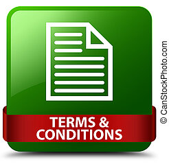 Terms and conditions (page icon) green square button red ribbon in middle