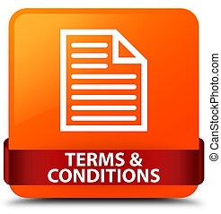 Terms and conditions (page icon) orange square button red ribbon in middle