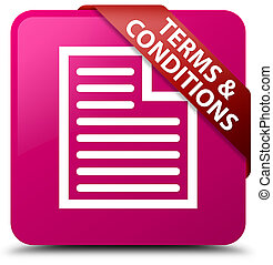 Terms and conditions (page icon) pink square button red ribbon in corner