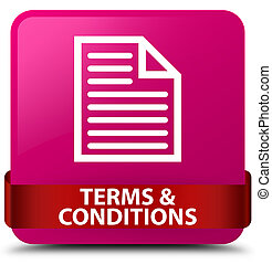 Terms and conditions (page icon) pink square button red ribbon in middle