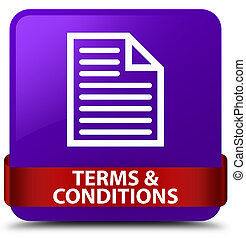 Terms and conditions (page icon) purple square button red ribbon in middle