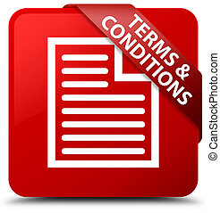 Terms and conditions (page icon) red square button red ribbon in corner
