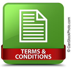 Terms and conditions (page icon) soft green square button red ribbon in middle