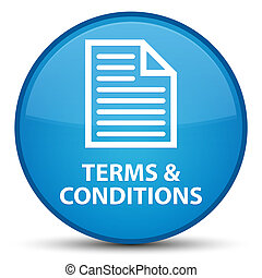 Terms and conditions (page icon) special cyan blue round button