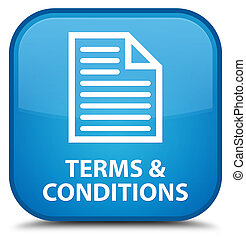 Terms and conditions (page icon) special cyan blue square button