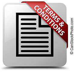 Terms and conditions (page icon) white square button red ribbon in corner
