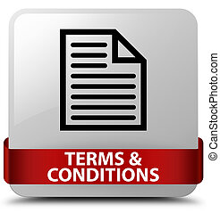 Terms and conditions (page icon) white square button red ribbon in middle