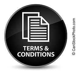 Terms and conditions (pages icon) elegant black round button
