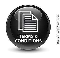 Terms and conditions (pages icon) glassy black round button
