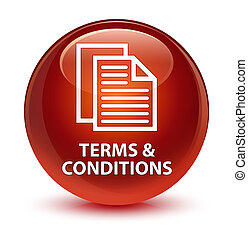 Terms and conditions (pages icon) glassy brown round button