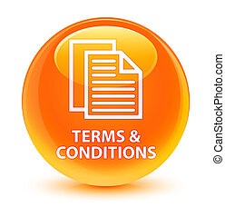 Terms and conditions (pages icon) glassy orange round button