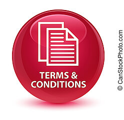 Terms and conditions (pages icon) glassy pink round button