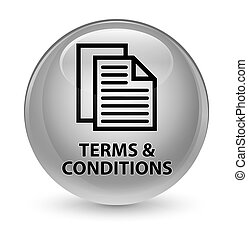 Terms and conditions (pages icon) glassy white round button