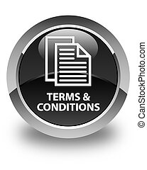 Terms and conditions (pages icon) glossy black round button
