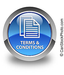 Terms and conditions (pages icon) glossy blue round button