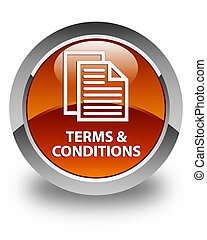 Terms and conditions (pages icon) glossy brown round button