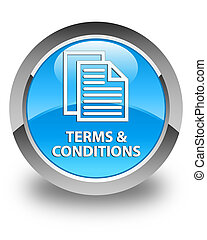 Terms and conditions (pages icon) glossy cyan blue round button