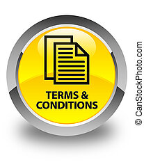 Terms and conditions (pages icon) glossy yellow round button