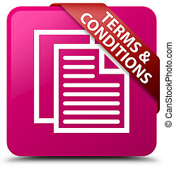 Terms and conditions (pages icon) pink square button red ribbon in corner