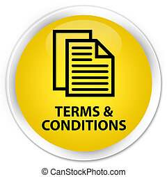 Terms and conditions (pages icon) premium yellow round button