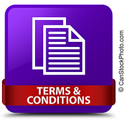 Terms and conditions (pages icon) purple square button red ribbon in middle