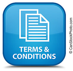 Terms and conditions (pages icon) special cyan blue square button