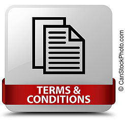 Terms and conditions (pages icon) white square button red ribbon in middle