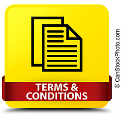 Terms and conditions (pages icon) yellow square button red ribbon in middle