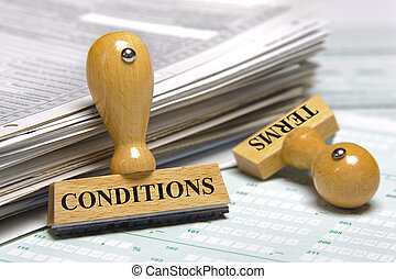 terms and conditions marked on rubber stamp