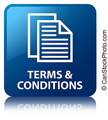 Terms & conditions glossy blue reflected square button