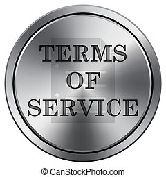 Terms of service icon. Round icon imitating metal.
