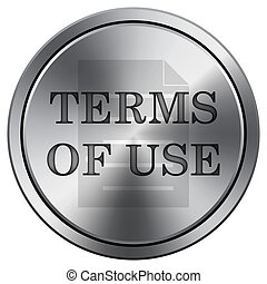 Terms of use icon. Round icon imitating metal.