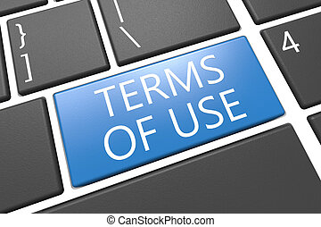 Terms of use - keyboard 3d render illustration with word on...