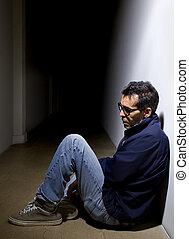 terneergeslagen, in, een, donker, hallway