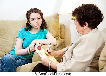 terneergeslagen, tiener, therapie