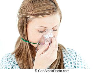 terneergeslagen, vrouwlijk, patiënt, met, een, masker