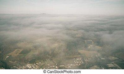 terni, aérien, altitude, ombrie, élevé, jour, nuageux, italie, région, vue