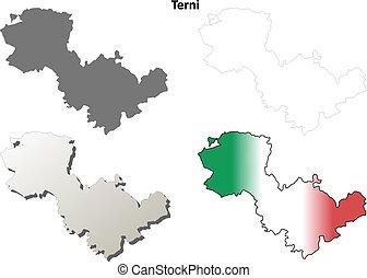 Terni blank detailed outline map set - Terni province blank...