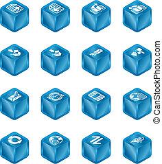 terning, series, sæt, browser internet, email, ikon