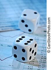terninger, og, aktie, priser