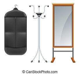 terno cheio, saco, roupa, comprimento, prateleira, espelho, ...
