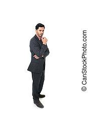 terno homem negócios, jovem, pensativo, retrato, laço, incorporado, atraente, ficar