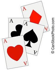 ternos, convés, pôquer, quatro aces, tudo