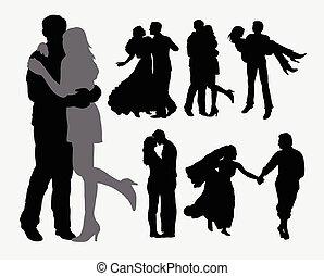 ternura, pareja, amor, silhouet