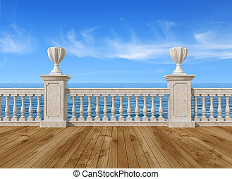 terraço, vazio, balaustrada
