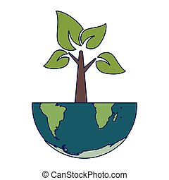 terra, árvore, mundo